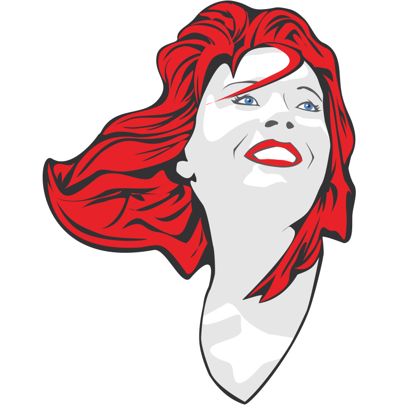 2 colored vector Illustration of a female as comic book pop art