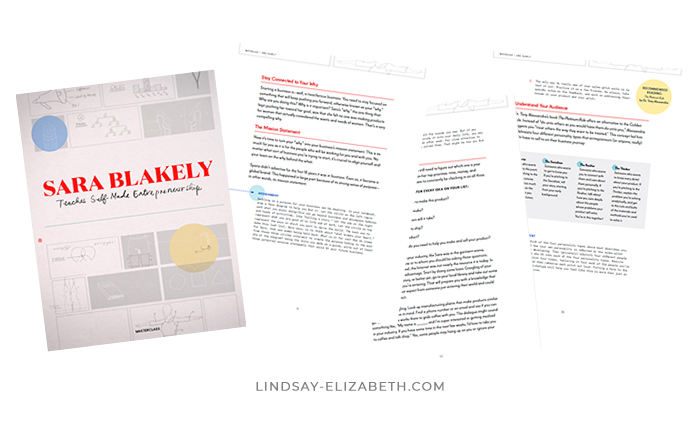 A preview of the 48-page workbook included with Sara Blakely's MasterClass on Self-Made Entrepreneurship.