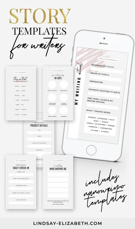 Fill out these fun IG story templates for writers to share details about your WIP, your writing preferences, who inspires you, and the progress you're making. NaNoWriMo templates are included, too!