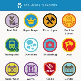 Rows of FourSquare Badges