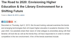 Screen capture of Road to 2020 information