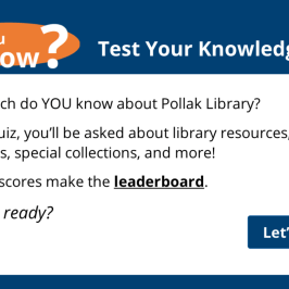 screenshot of Pollak Library trivia game