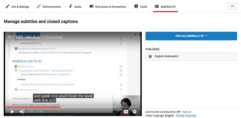 Screenshot of YouTube