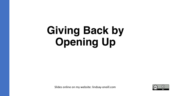 Giving Back by Opening Up