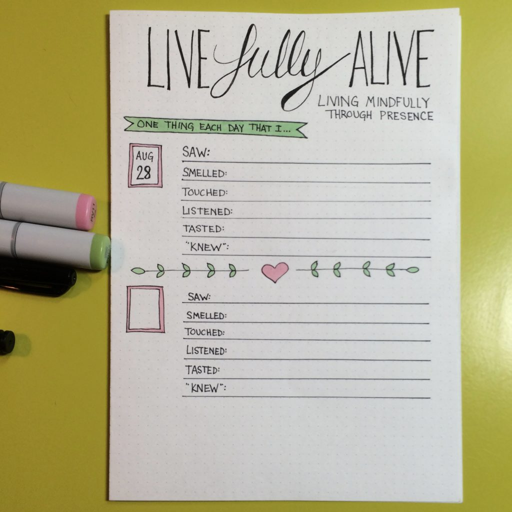 A Mindfulness Bullet Journal Layout