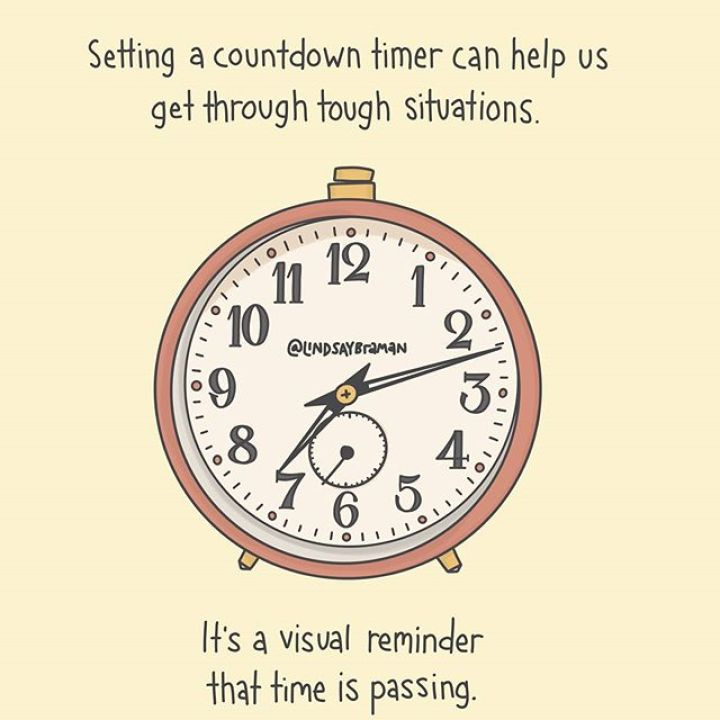 You know how time can seem to stop in a high anxiety or much-dreaded situation? Having a countdown on your watch or phone that shows that hours, minutes, and seconds really are ticking by can be a helpful tool to ground yourself and get through it. ...If appropriate to the context, music can work the same way. Props to my first therapist who recommended listening to a very familiar musical soundtrack during dental procedures to help my brain track time passing. ..#brainhacking #anxietyrecovery #dreadingmonday #productivity #selfkindness #reparenting #clocks #mentalhealthtips - from Instagram