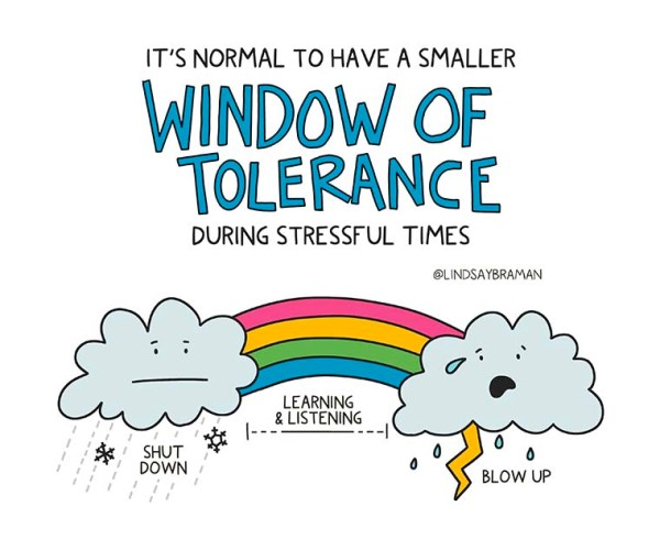 the impact of stress on window of tolerance - Illustration by Lindsay Braman