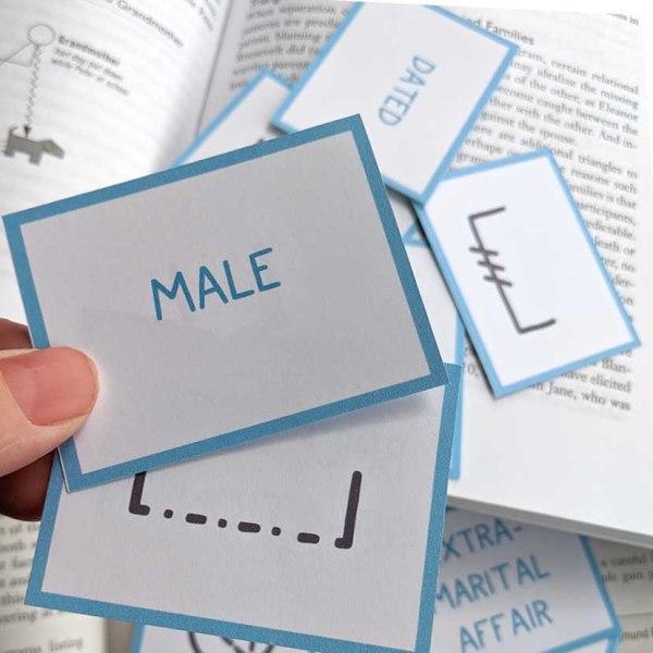 printed Genogram symbol study flashcards