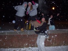 (Furthest Right) Throwing snow like a boss!