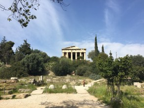 A view of the Ancient Agora of Athens and the Temple of Hephaestus