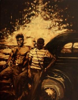 "Platte River Picnic / Oil on Canvas / 28"" x 36"" / For Sale"