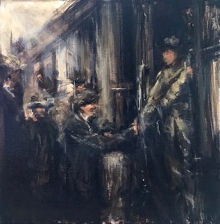 The Welcome (Union men welcoming the US Calvary to Trinidad Post, Ludlow Massacre 1914) / Oil / 20 x 20""
