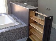 How to make a drawer inside a pony wall/bathtub frame?