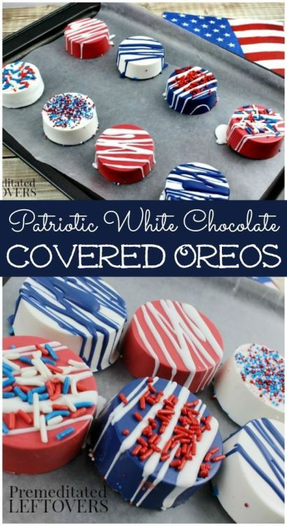 Patriotic White Chocolate Covered Oreos