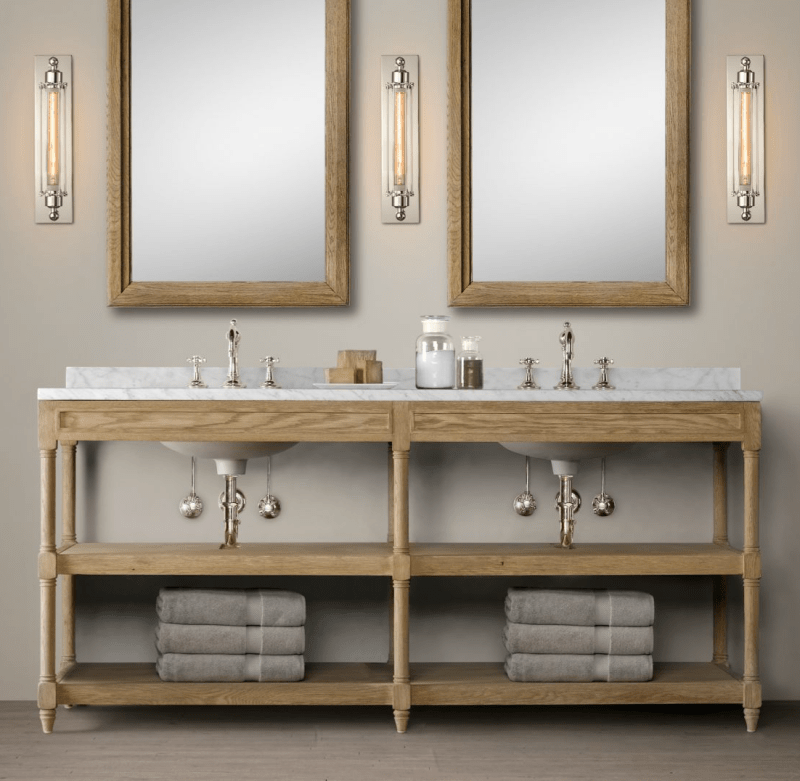 Casual Coastal Guest Bathroom Vanity and Sink
