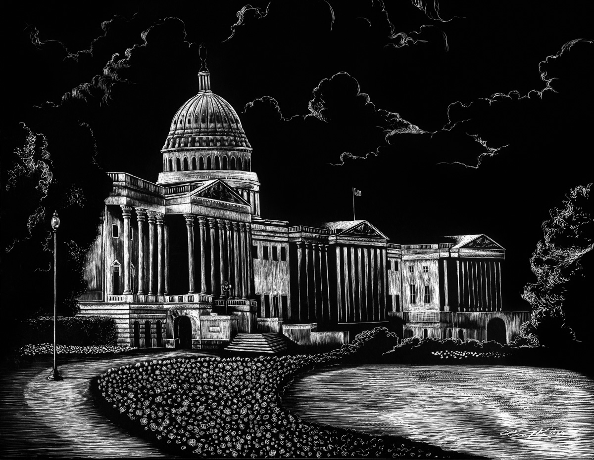 US Capitol in Scratchboard by Lindsey Jaeger