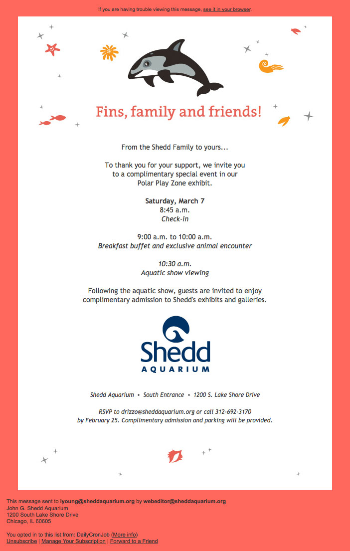An email invitation with the headline 'Fins, family and friends!' The headline is surrounded by orange and pink icons of shells and starfish, with a playful dolphin illustration above it. The background of the invitation is pink, and the invitation card itself is white with information about where and when the event will take place, and a Shedd logo at the bottom.