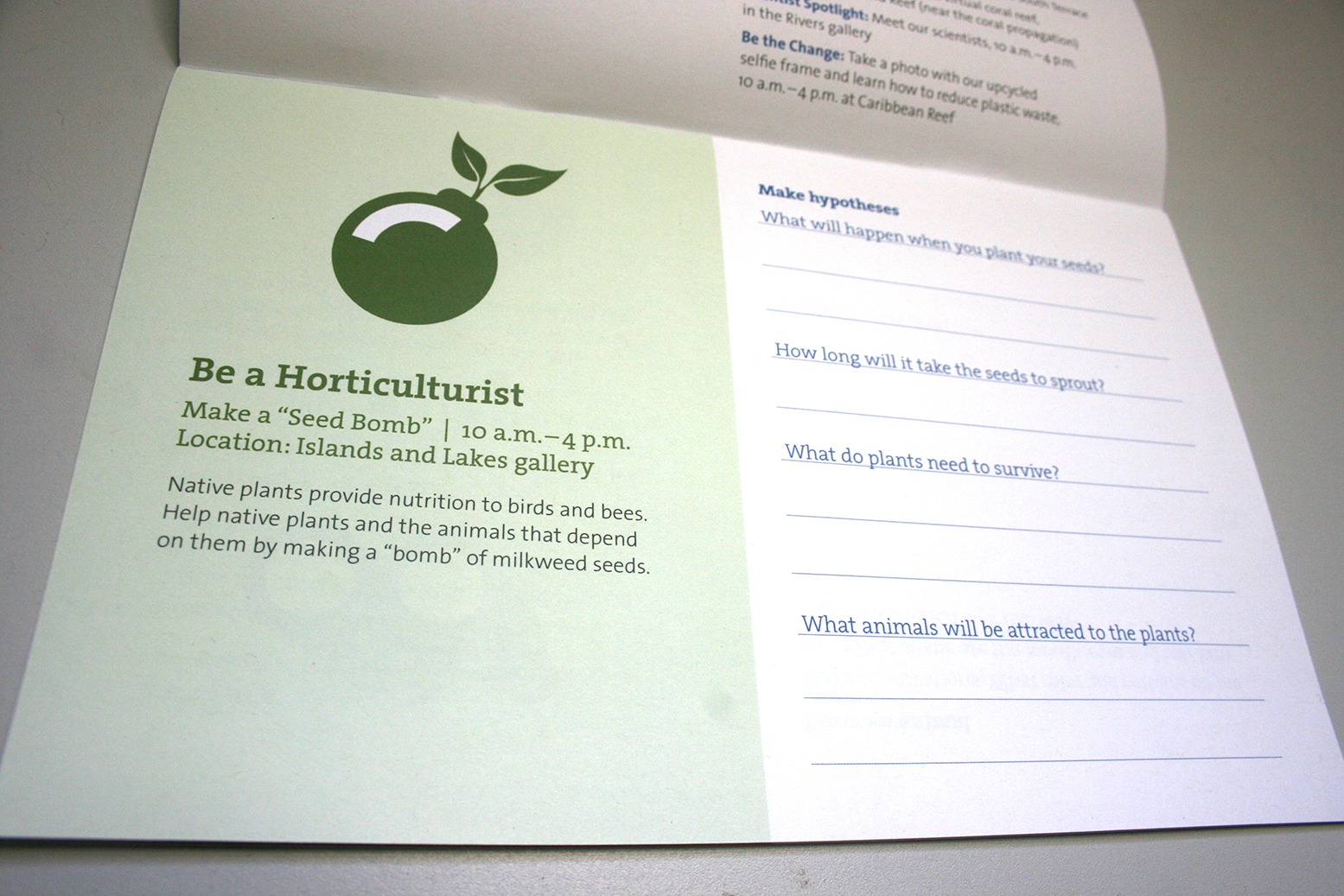 A single activity page is shown from an activity booklet. An icon of a bomb with leaves sprouting out of it on a green background is followed by the text, 'Be a Horticulturist', and information about the activity. On the right side of the page there are questions for the participant to answered during the activity.