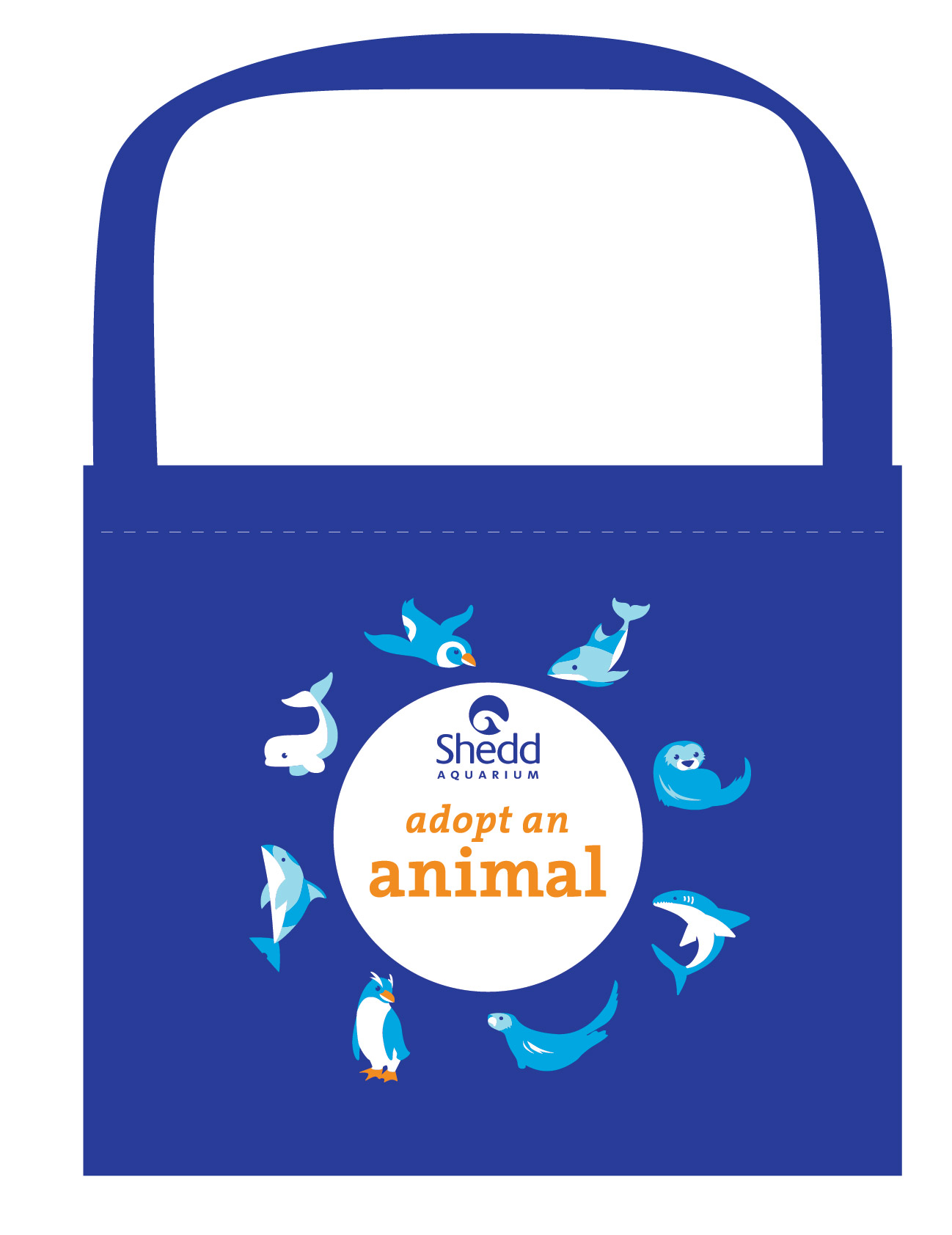 A reusable tote bag with the text 'Adopt an Animal' in orange on a white circle in the middle. The Shedd logo is placed aove the title, and around the circle are arranged stylized icons of sea otters, dolphins, sharks, penguins and belugas in blue and white.