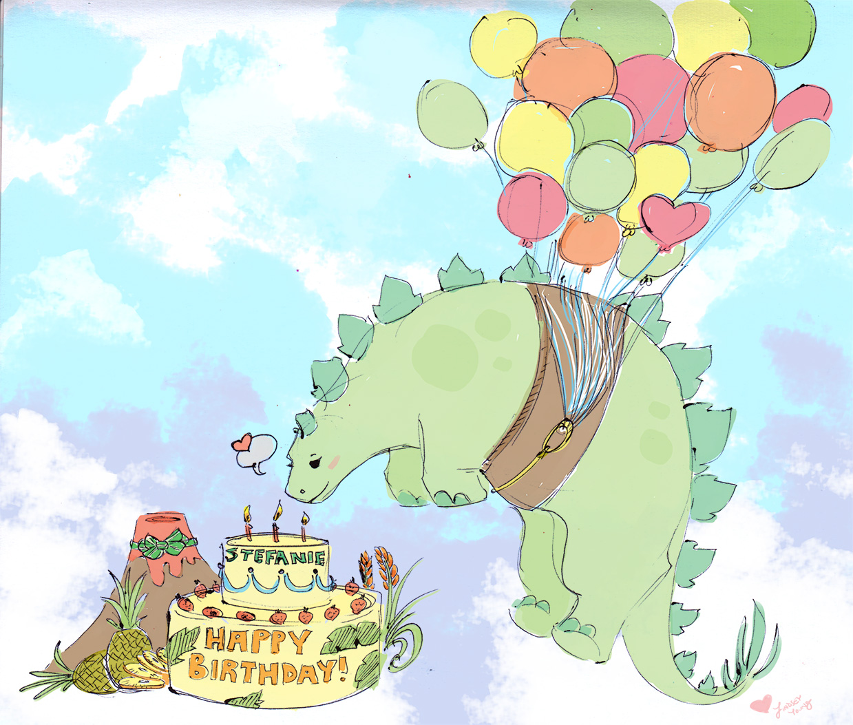 An illustration in a simple, hand-drawn style showing a stegasaurus, a tiny volcano, and a birthday cake. The stegasaurus is being lifted into the air by many colorful balloons.