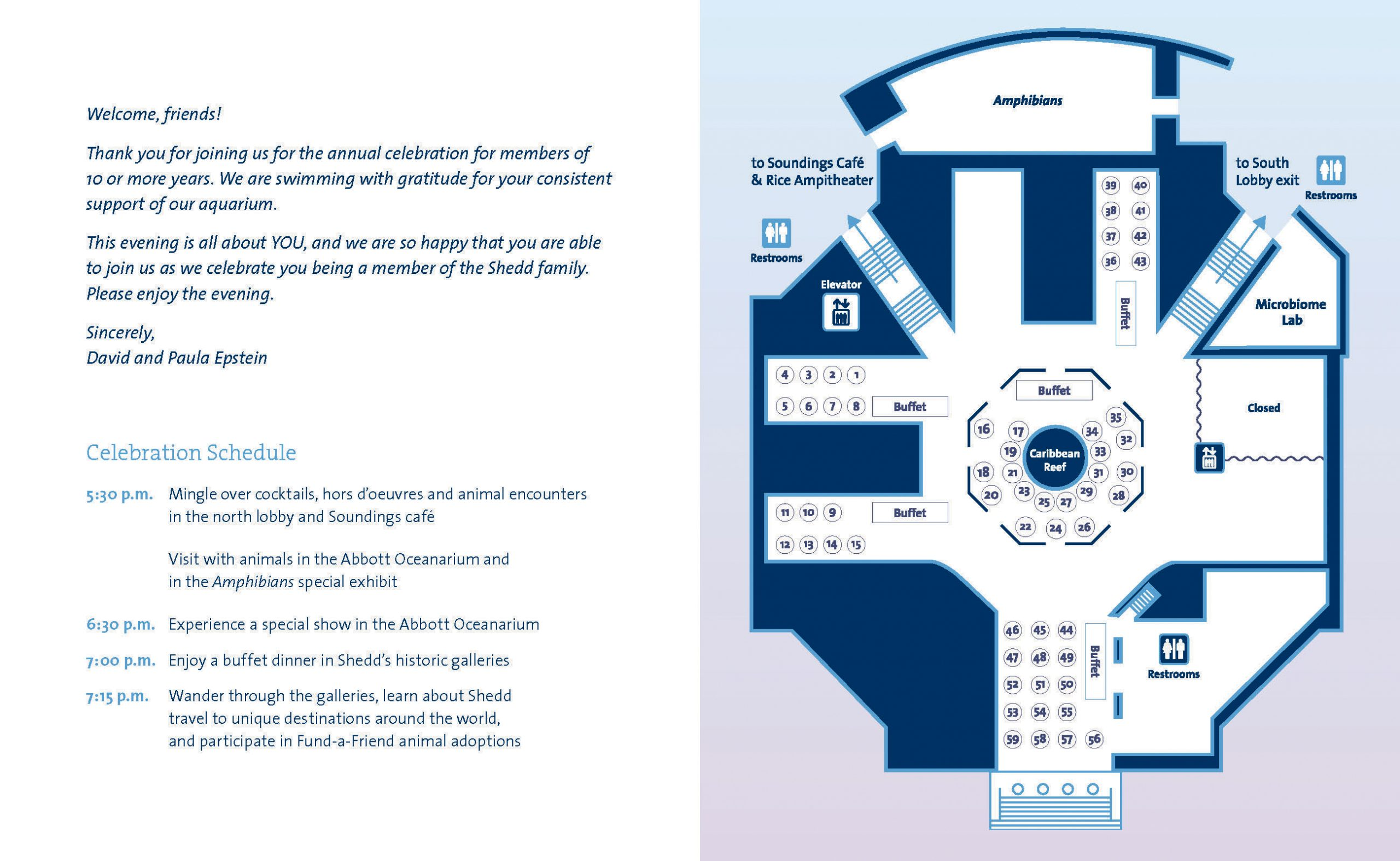 The inside spread of a program. The information and a map of the building are shown in navy, and behind the map is a light blue to purple gradient.