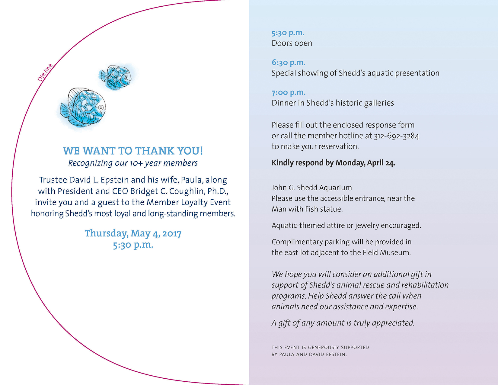 The inside spread of an invitation. On the left two little fish are shown above a headline reading 'We want to thank you!'. On the right information about the event is shown over a gentle blue-to-lavender gradient.