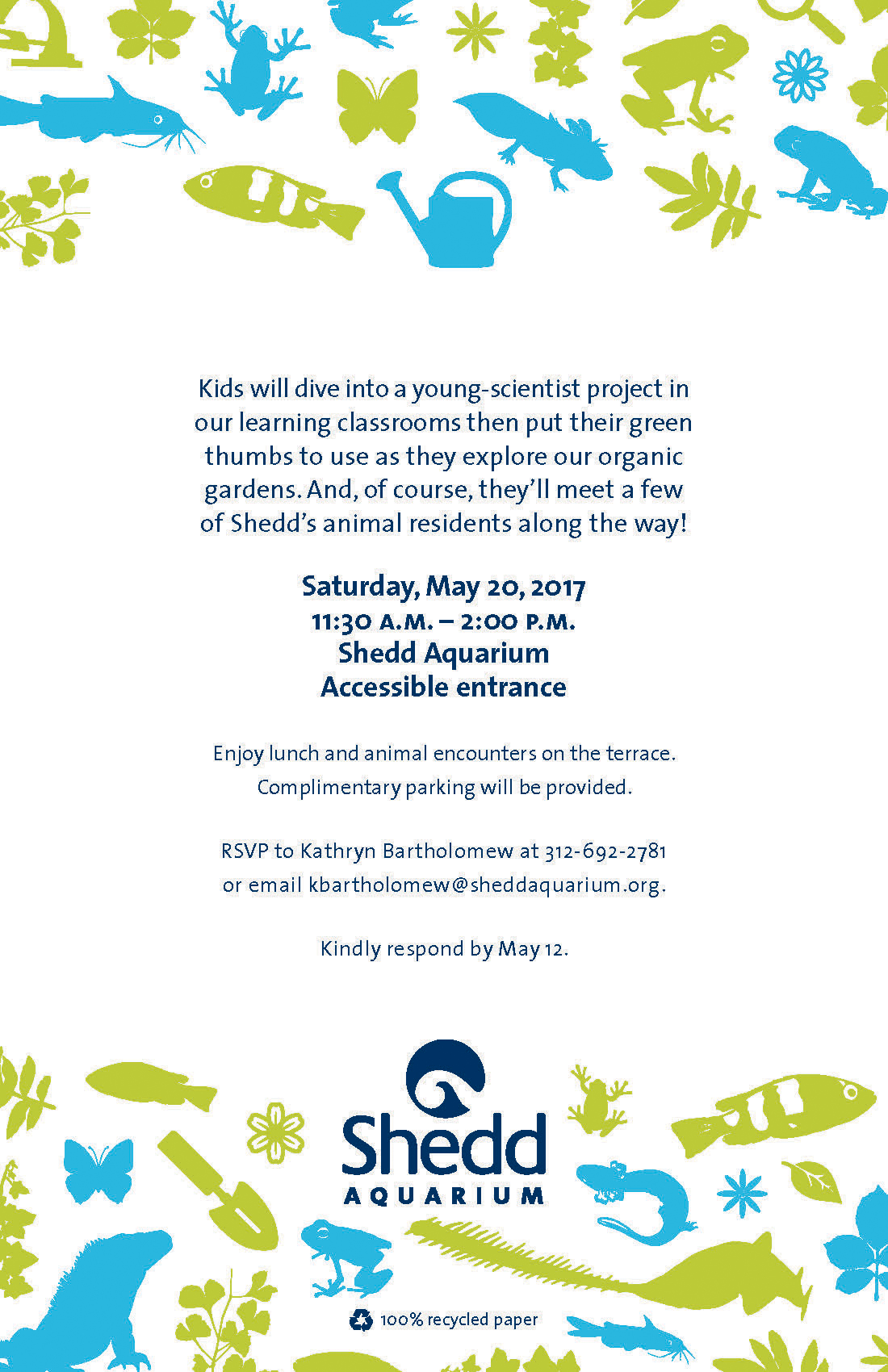 The back of an invitation, with information about the time, place, and format of the event. Small animal icons in bright green and blue form cheery borders along the top and bottom edges of the invitation.