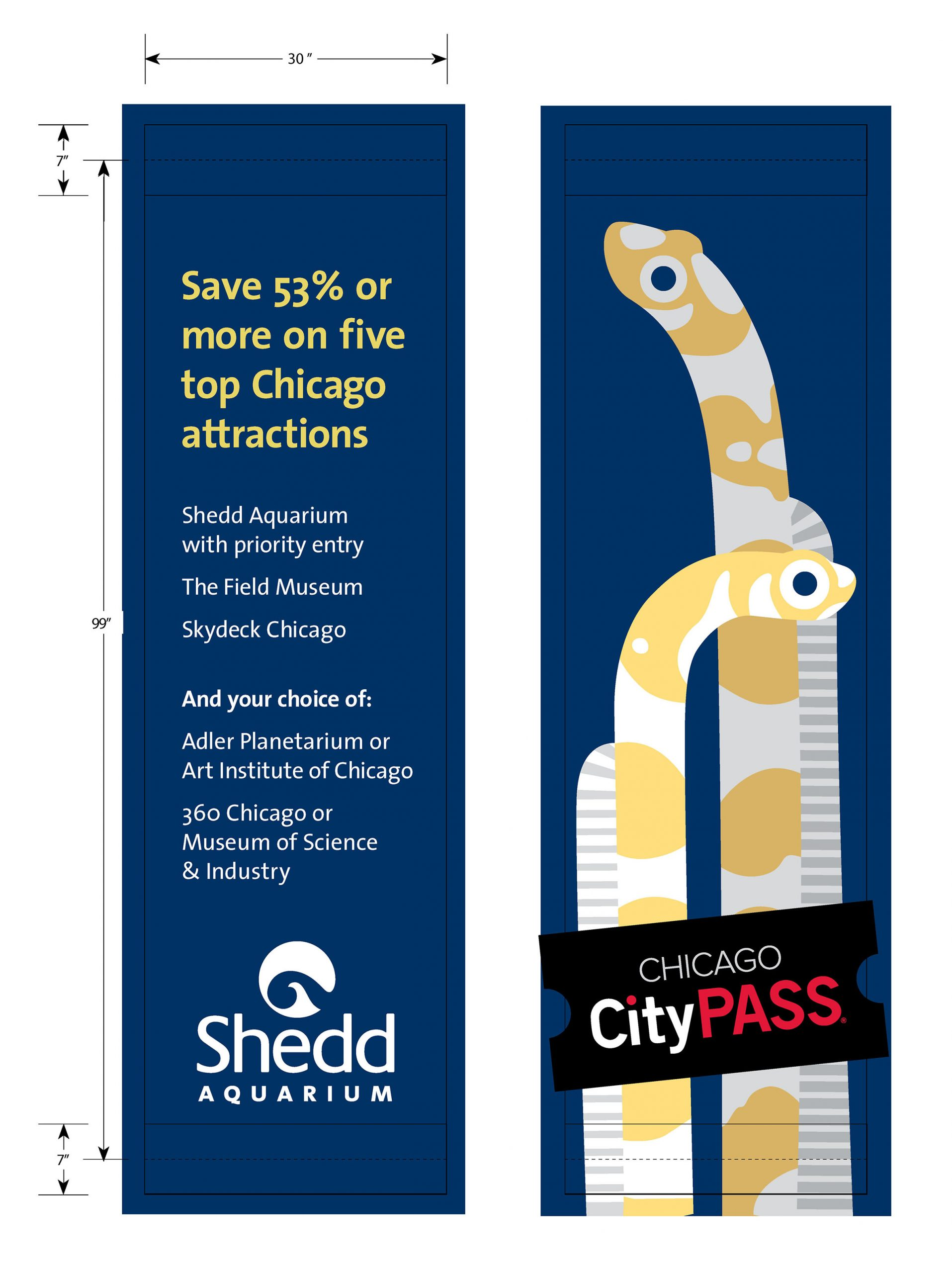 A set of street banners. The left provides information about Citypass. The right shows a stylized geometric illustration of two yellow garden eels.
