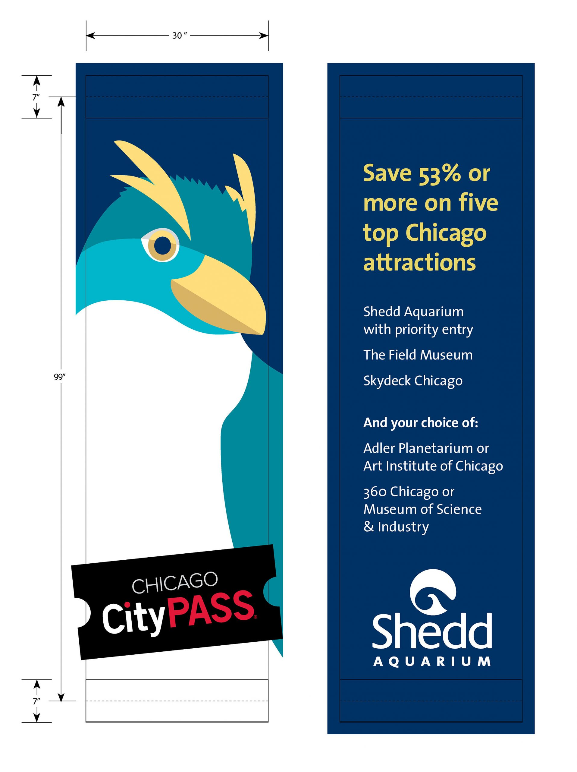 A set of street banners. The left one shows information about memberships, and the right one depicts a stylized illustrated penguin in teal, white and yellow.