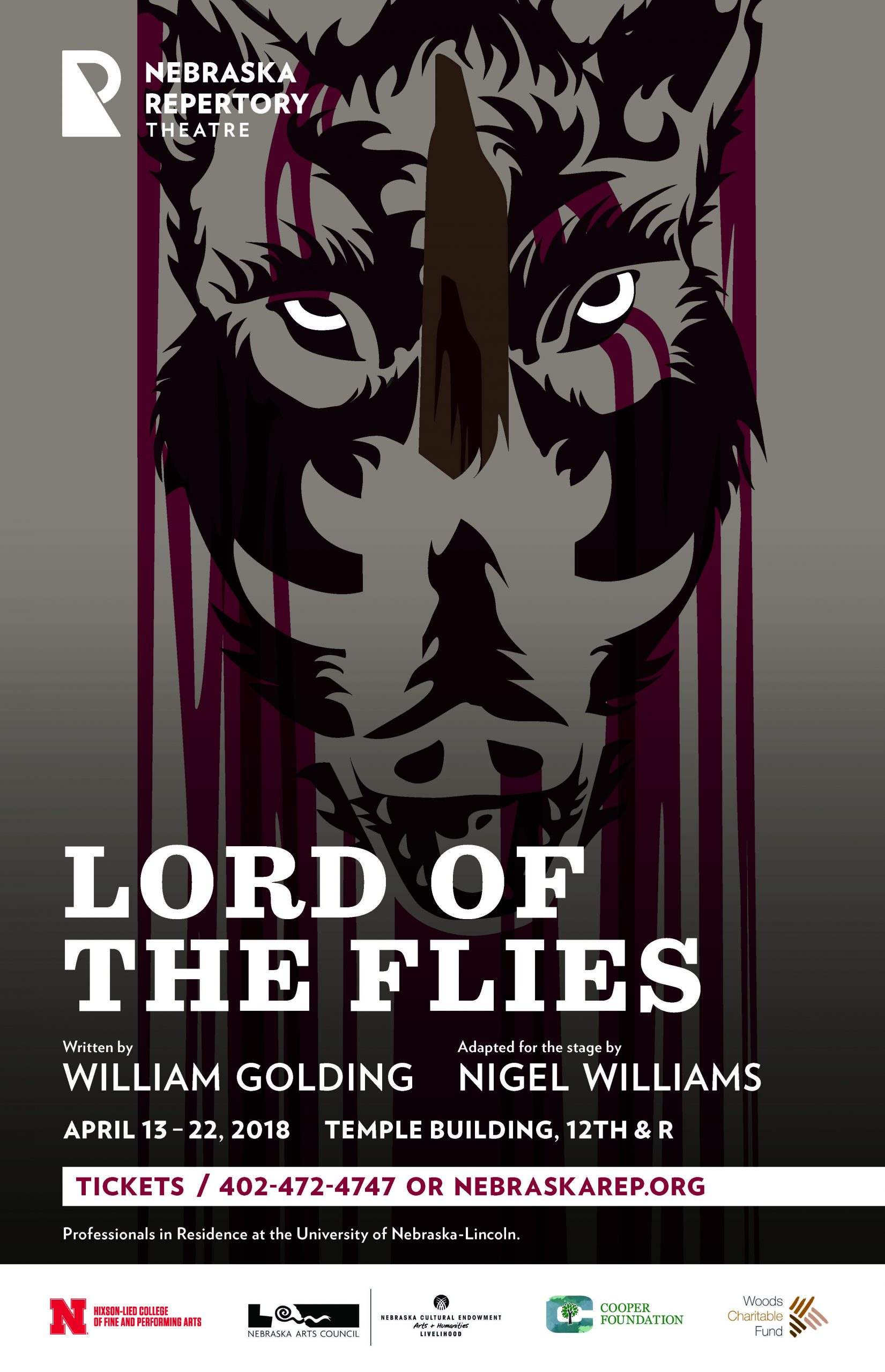 A dark and moody poster with the title 'Lord of the Flies'. In the background leers a graphically depicted boar's head with red streaks running down its fur.