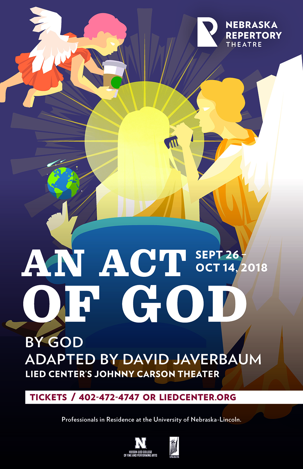 A poster featuring a long-haired figure sitting with their back turned to the viewer. Their head is surrounded by a halo and they are being attended by two angels, one combing its hair and the other handing it coffee in a paper cup.