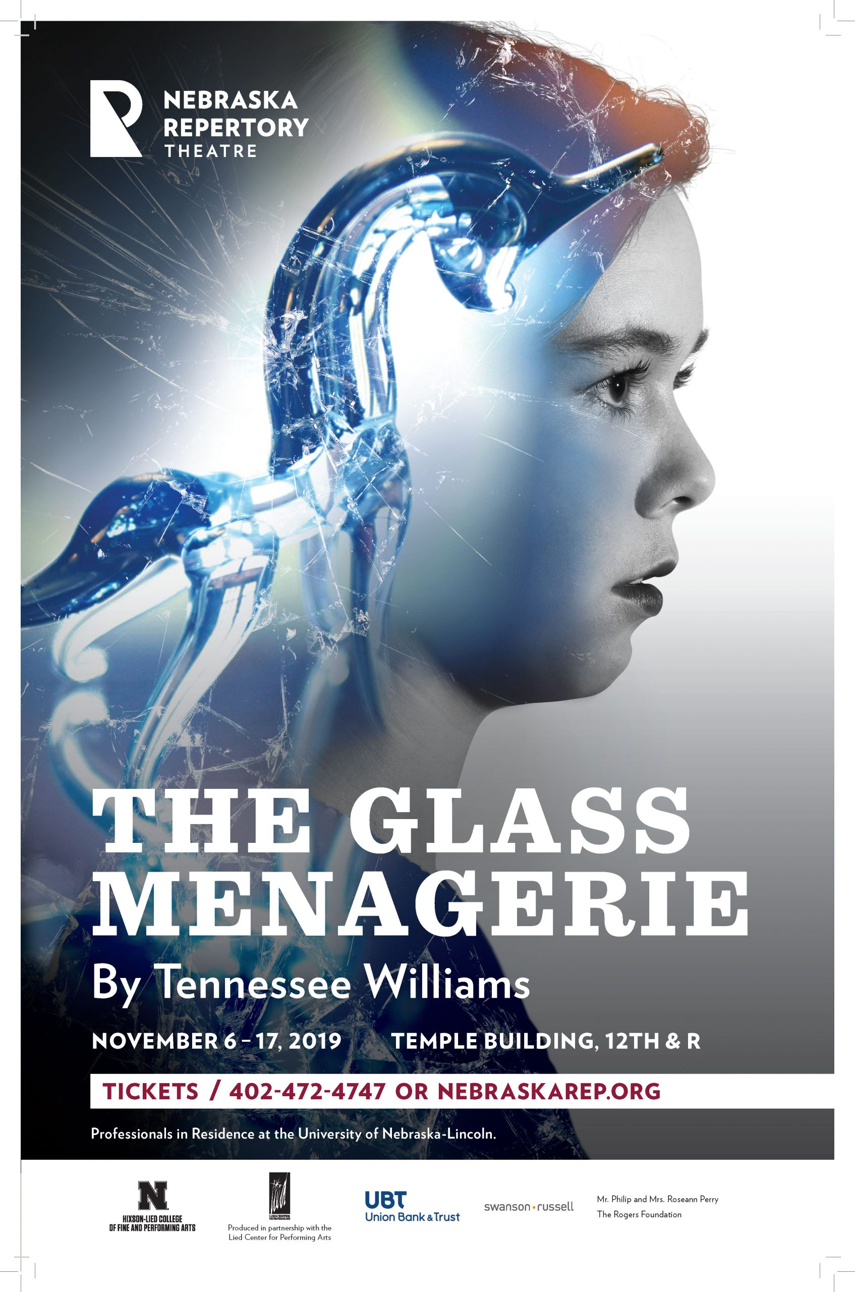 A poster with the title 'The Glass Menagerie'. A black and white photo of a woman's face in profile is overlaid with an image of a blue glass unicorn and broken glass.