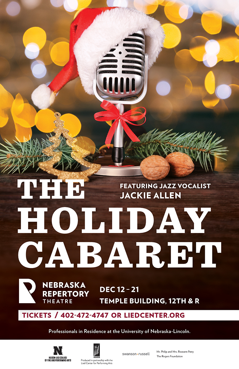 A poster reading 'The Holiday Cabaret'. An old-timey microphone sits among pine sprigs and walnuts, playfully festooned with a santa hat.