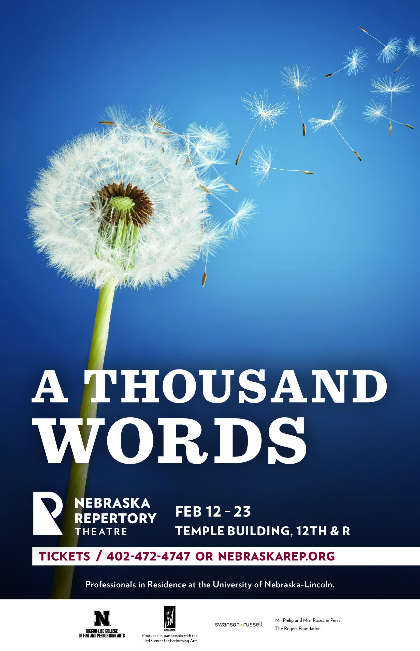 A poster with the title, 'A Thousand Words'. The background features an image of a dandelion fluff with its fluffy seeds being blown away over a blue background.