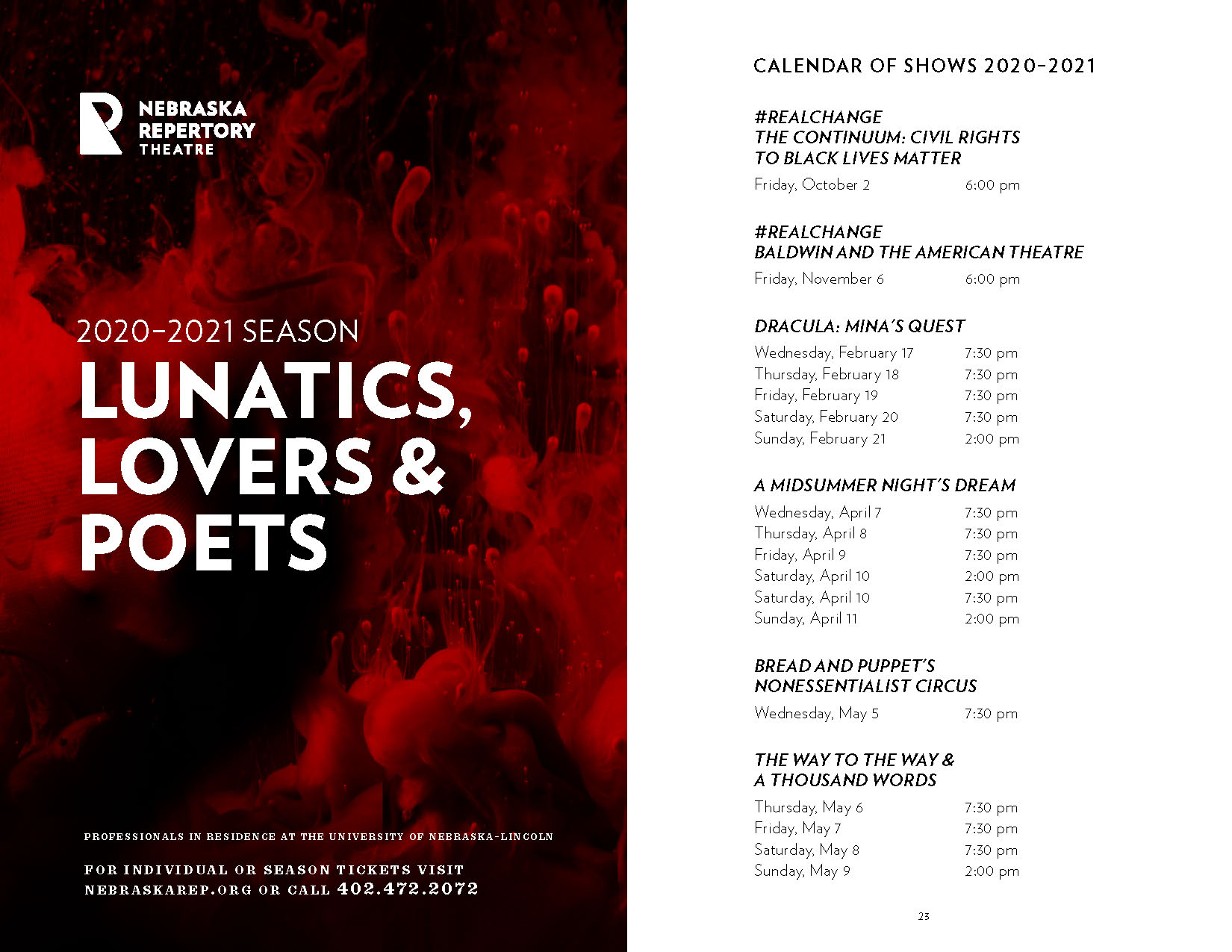 A spread from a brochure. On the left is the title '2020–2021 Season: Lunatics, Lovers and Poets'. On the right is a list of shows and show times.