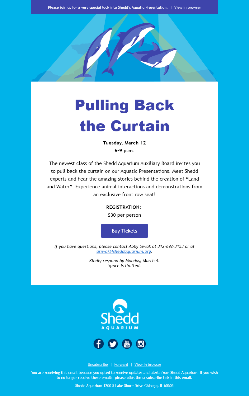 An email invitation. An illustration of two dolphins in spotlights sits at the top of the email, followed by a large purple headline reading 'Pulling back the curtain'. Information about the event and a purple button to RSVP follow.
