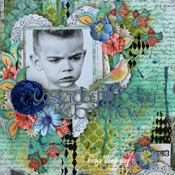 Lynne Woolgar Lindy's Stamp Gang Layout, Texture Technique