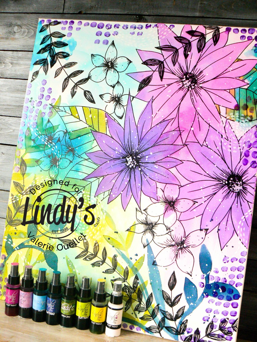 BIG Canvas Watercolor using Lindy's Sprays by Valerie