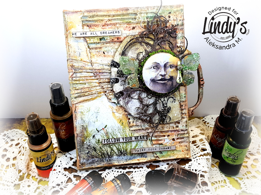 """Dreamers, paint your dreams"" mixed media canvas with Aleksandra"