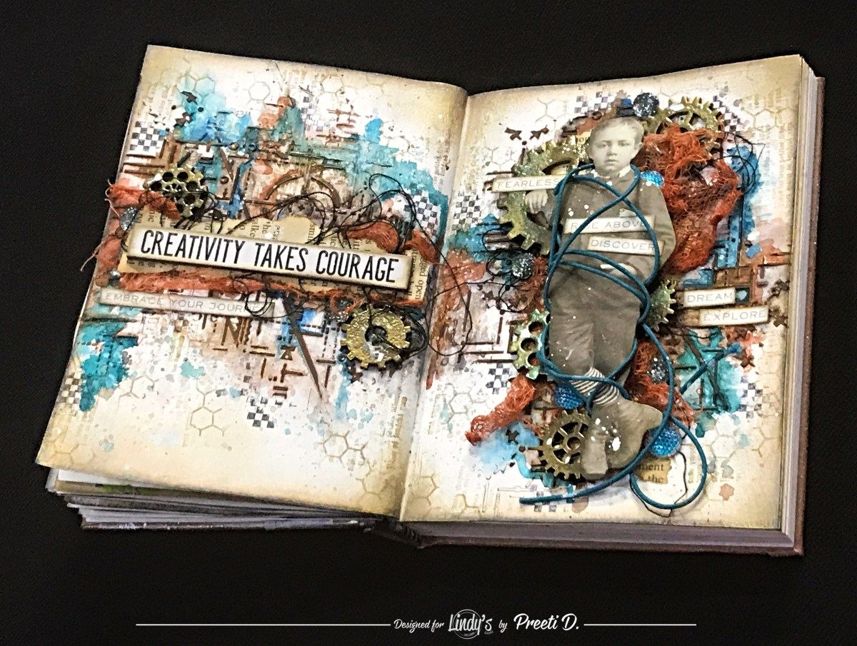 Grungy Vintage Art Journal Spread with Preeti D.