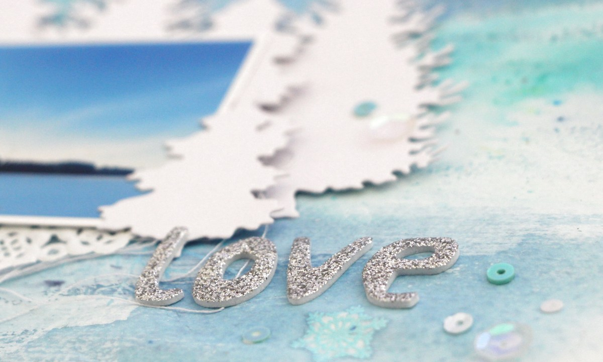 Winter Layout using Shakers and Heat Embossing with Frau Pony