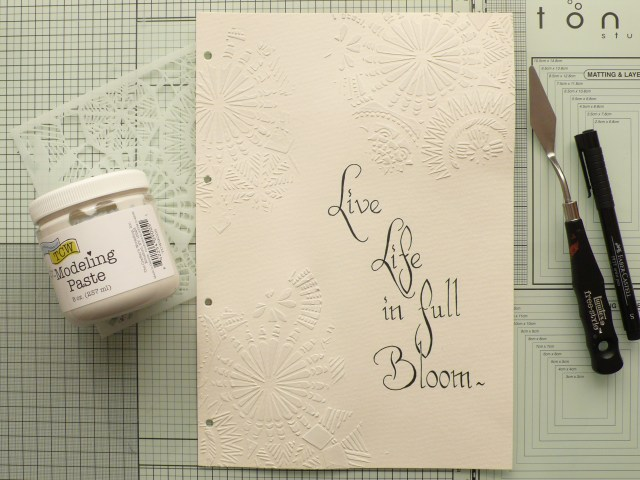 Step by step tutorial on how to create a fun art journal page using custom coloured modeling paste