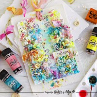 Floral Card with Lindy's Magical Shakers from Olga Ravenskaya