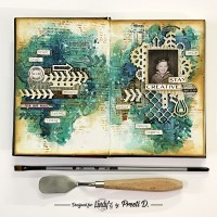 Grungy Vintage Art Journal Spread with Lindys Squirts