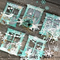 Winter Window ATC's using Lindy's Starbursts and Embossing Powders