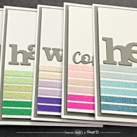 Heat Embossing on Double-Sided Tape with Lindys Embossing Powders for Ombre Stripe Cards