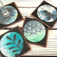 DIY Abstract Wine Coasters with Lindy's Sprays and Tracy V.