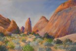 Red Rocks - Arches NP (pastel) 26 x 39cm $80
