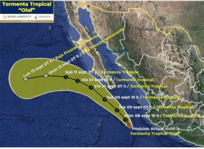 """The distance to the closest place of """"Olaf"""" is 255 km southwest of Cabo Corrientes, Jal., And 510 km south-southeast of Cabo San Lucas, BCS and moves at 11 km / h to the northwest with sustained winds from 65 km / h and gusts of 85 km / h.  This system maintains a surveillance zone due to tropical storm effects from Los Barriles to Santa Fé, BCS and the rain forecast is very heavy with intense punctual rains (75 to 150 mm) in Nayarit and Jalisco;  heavy rains with very strong occasional rains (50 to 75 mm) in Michoacán;  and intervals of showers with strong punctual rains (25 to 50 mm) in Baja California Sur, Sinaloa and Colima.  https://twitter.com/conagua_clima/status/1435618678867996681 Wind gusts of 60 to 70 km / h and swells of 2 to 4 meters of significant height are forecast on the coasts of Nayarit, Jalisco, Colima,  Michoacán and Baja California Sur.  In the current forecast, the SMN ruled out that """"Olaf"""" assumes the hurricane card, one contrary to previous ones, and marks the most noticeable approach towards the night of September 9 when it is 140 km south-southwest of Cabo San Lucas, BCS., And 275 km south of La Paz, BCS.  Photo 1 The recommendation is to take extreme precautions to the general population in the areas of the states mentioned due to rain, wind and waves (including maritime navigation) and to comply with the recommendations issued by the authorities of the National Civil Protection System, in each entity.  Photo 2  and marks the most noticeable approach towards the night of September 9 when it is 140 km south-southwest of Cabo San Lucas, BCS., and 275 km south of La Paz, BCS.  Photo 1 The recommendation is to take extreme precautions to the general population in the areas of the states mentioned due to rain, wind and waves (including maritime navigation) and to comply with the recommendations issued by the authorities of the National Civil Protection System, in each entity.  Photo 2  and marks the most noticeable approach towards the night o"""