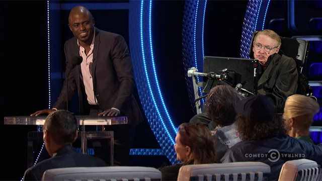 Stephen Hawking, former Lucasian Professor of Mathematics, and Director of Research at the Centre for Theoretical Cosmology at the University of Cambridge, seen here being roasted by former Whose Line Is It Anyway? star Wayne Brady - (AP Photo)